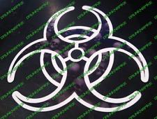 Biohazard Logo skulls Decal Sticker Car  Resident Zombie WHITE