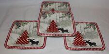 222 Fifth Bridgeton Lodge Moose Red Christmas Tree Porcelain Four Salad Plates