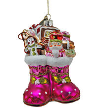 Baby Christmas Stocking Glass Ornament Pink - Katherine's Collection 22-5