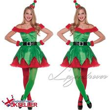 Women Adult Ladies Christmas Elf Fancy Dress Costume Xmas Santas Helper Outfit