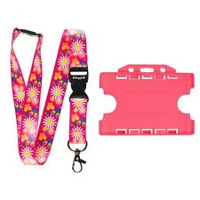 ROLSELEY Lanyard Daisy Pink Pattern with Safety Breakaway + Pink Cardholder