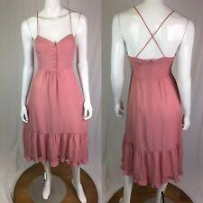 $228 French Connection 2 Pink Silk Corset Ruffle Flounce Midi Flare Shift Dress