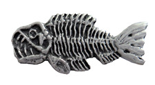 'Fearsome Frankie' Fossil Fish Steampunk Style Pewter Pin Badge - LP1501