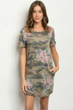New USA First Love Casual Camouflage Roses Pockets Western Dress Tunic XS,S,M,L