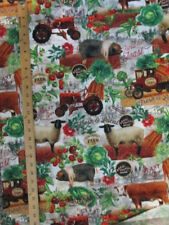 Vintage Farm Tractors Animals Sheep Hogs Produce Cotton Fabric FQ