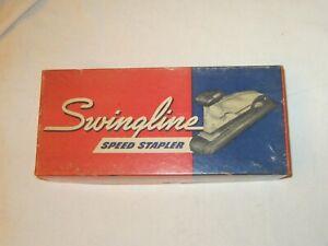 Vintage Office Advertising Swingline Speed Stapler Red Blue Cardboard Box Empty