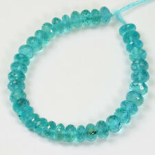 "7mm-7.5mm Neon Blue Apatite Faceted Rondelle Beads 6.2"" Strand"