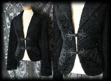 Goth Black Boucle Velvet WICKED WAYS Oriental Braid Jacket 12 14 Vintage 40s 50s