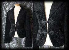 Goth Schwarz Boucle Samt schlechten wegen Oriental Braid Jacke 12 14 Vintage 40s 50s