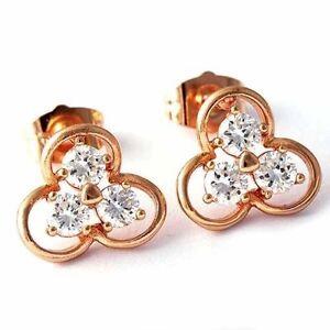 Pretty New Rose Gold Filled Triple 3 Crystal CZ Clover Flower Set Stud Earrings
