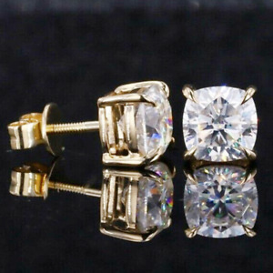 3.00 TCW Cushion Cut Moissanite Screw-Back Earring In 14k Yellow Gold Plated