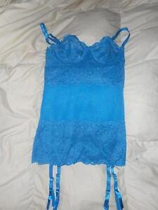 Frederick's Of Hollywood Teal Blue Nighty Garter Slip Lingerie Size Small Used