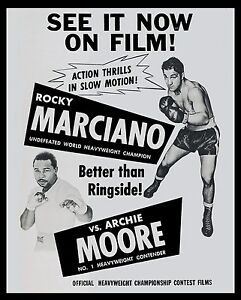 ROCKY MARCIANO vs ARCHIE MOORE 8X10 PHOTO BOXING POSTER PICTURE