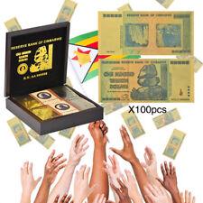 WR 100 piezas de color chapado en oro de Zimbabwe y caja de regalo de madera