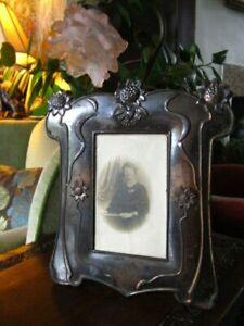 Fine antique art nouveau decorative sunflower oxidised copper photograph frame