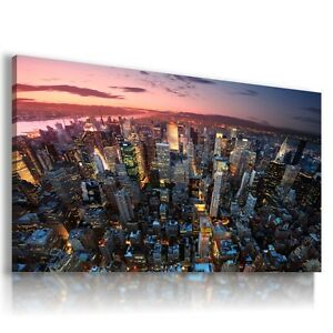 NEW YORK CITY BY NIGHT View Canvas Wall Art Picture   L63  MATAGA