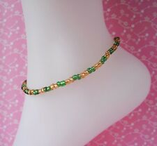 Yellow & Green Glass Beaded Stretch Anklet Ankle Bracelet Handmade Cute Sexy