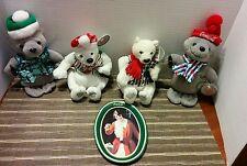 Coca-Cola 2 Polar Bears, 2 Seals Beanie Baby Collectors Pieces +CocaCola tray