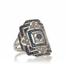 "Rarities Carol Brodie .56ct Blue & White Diamond Sterling Silver ""Art Deco"" Ring"