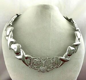 14k Gold XO X O Heart Hugs & Kisses Lab Diamonds I Love You Teddy Bear Necklace