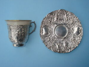 Demitasse Cup & Saucer 19TH Century German Silver ( 800 ) In Baroque Style