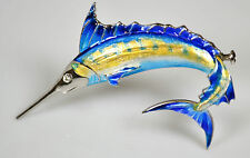 Nicole Barr Sterling 925 Hand Enameled Sword Fish Design Pin Brooch