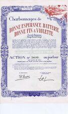 LIEGE CHARBONNAGES DE BONNE ESPERANCE BATTERIE BONNE FIN & VIOLETTE 1950
