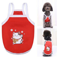 Summer Cute Pet Dog Clothes Lucky Cat Print Vest T Shirt Small Cat Puppy Apparel