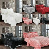 Crushed Velvet Santiago Bedspread Quilted Luxury Comforter Bed Throw Bedding Set