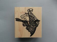 100 PROOF PRESS RUBBER STAMPS GIRL RIDES BIRDIE NEW wood STAMP