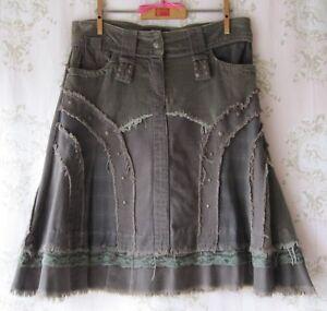Rare! Vtg BOUTIQUE Stud Fray Patchwork Cord Tweed Lace Denim Skirt Army Green