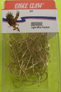 Eagle Claw 202 #1/0 100Ct Gold Aberdeen Hooks