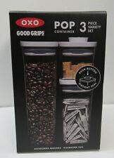 Food Pop Container 3 Pc Slim Rectangular Modular System OXO Good Grips