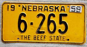 1958 Black on Orange Nebraska License Plate 6 = Saunders County