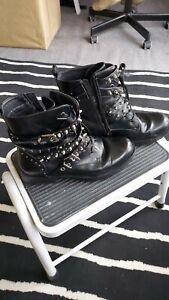Black Biker Boots with Rinestone Studs - Ladies - Size EU41 (7.5) - Worn