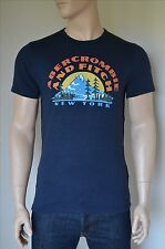 NEU Abercrombie & Fitch Print Logo Graphic Tee Navy T-Shirt M