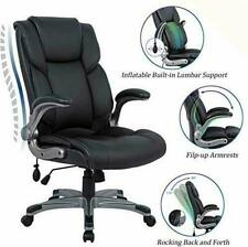 Big & Tall Leather Office Chair Adjustable Tilt Angle Executive (Black)