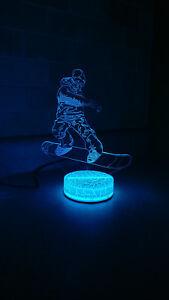 Snowboarder 3D illusion 7 Color LED Light Night Change Table Desk Lamp