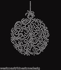 Merry Christmas Ornament 22 Rhinestone Iron on T Shirt Transfer   UDMB