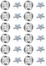 25th Wedding Anniversary Edible Cupcake Fairy Cake Wafer Paper Toppers x 24