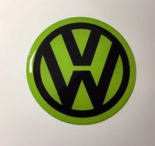 VW CHROME/LIME GREEN Sticker/Decal - 60mm DIAMETER HIGH GLOSS DOMED GEL FINISH