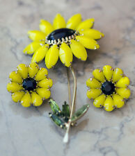 Vintage Weiss Pin / Brooch + Clip Earrings Diasy Black Eyed Susan Flowers