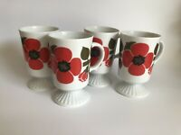 Vintage Retro Porcelain Footed Coffee Cups / Mugs Made In Japan Set Of 4