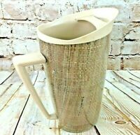 Vtg raffia ware pitcher with ice lip great mid century Modern insulated pitcher