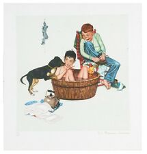 """""""Lickin' Good Bath"""" by Norman Rockwell Lithograph on Arches Paper Ettinger Inc"""