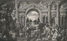A7958 Paolo Caliari (Veronese) - Regina Saba offre doni - Stampa Antica del 1924