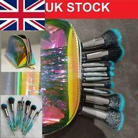 10PCS Unicorn Make up Brushes Set Foundation Eyeshadow holographic Makeup bag UK