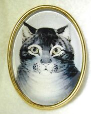 Glass Oval Crystal Dome Button Grey Tabby Cat Lg Sz FREE US SHIPPING 244OV