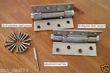 """4 of Spring Door Hinges 4"""", self closing with 90 degrees stopper, square corner"""