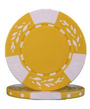 100pcs 10.5g Wheat No Metal Insert Poker Chips Yellow